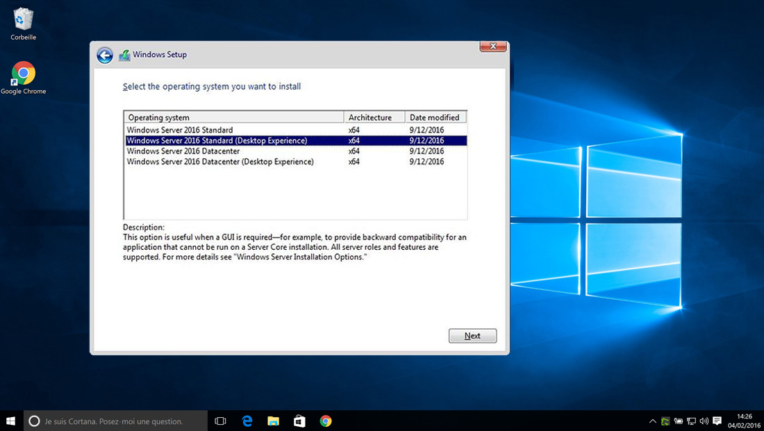 Installer Windows Server 2016 – 10 User CA